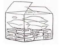 Fyll upp halva kartongen med böcker och resten med sängkläder eller dyl.